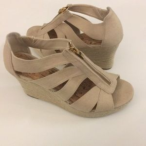 Merona Tan Zip Up Wedges